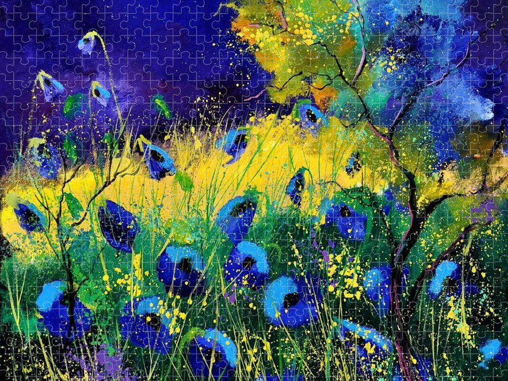 Landscape Puzzle featuring the painting Blue poppies 7741 by Pol Ledent