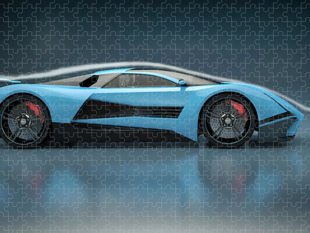 Aerodynamic Puzzle featuring the photograph Blue Sports Car In A Wind Tunnel by Mevans