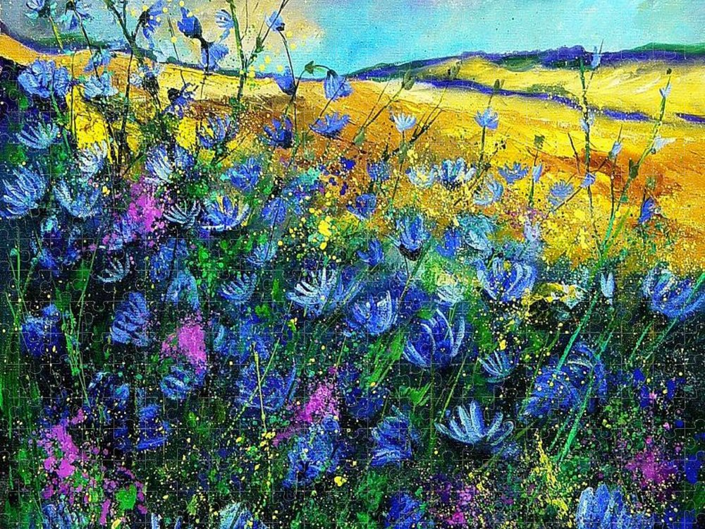 Flowers Puzzle featuring the painting Blue wild chicorees by Pol Ledent