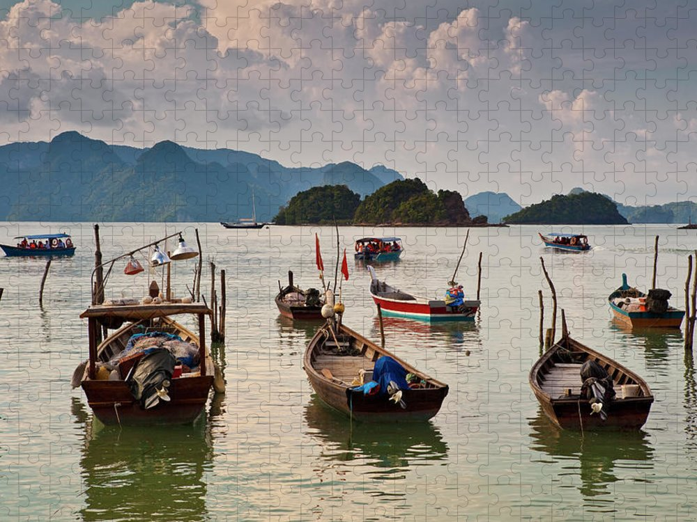 Southeast Asia Puzzle featuring the photograph Boats Moored In Sea, Teluk Baru by Richard I'anson