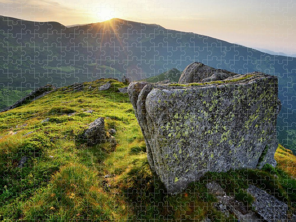Scenics Puzzle featuring the photograph Bright Sunset Landscape In Mountains by Rezus