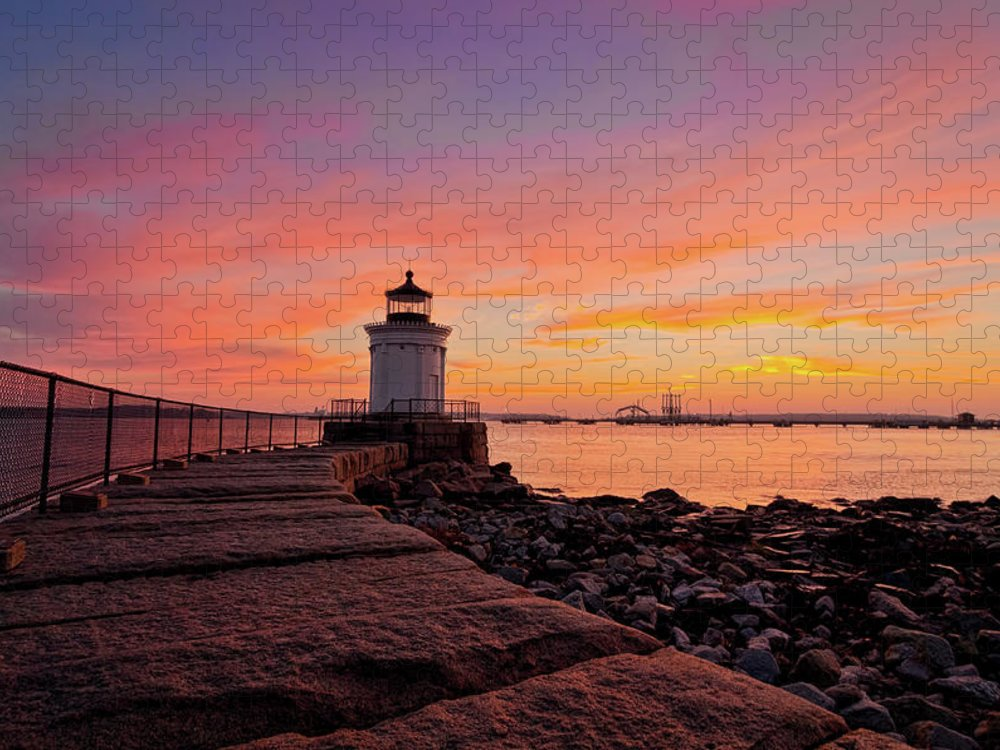 Built Structure Puzzle featuring the photograph Bug Light Sunrise 1899 by Www.cfwphotography.com