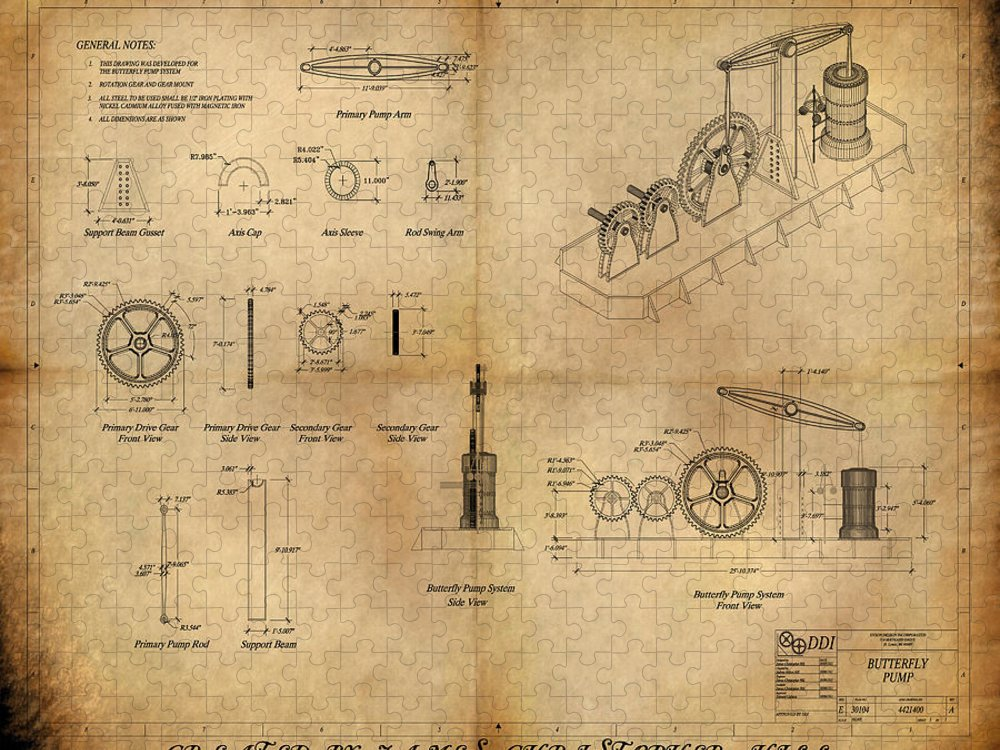 Steampunk; Gears; Housing; Cogs; Machinery; Lathe; Columns; Brass; Copper; Gold; Ratio; Rotation; Elegant; Forge; Industry; Jules Verne Puzzle featuring the painting Butterfly Pump by James Christopher Hill