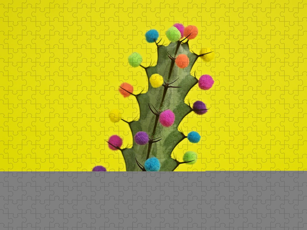 Celebration Puzzle featuring the photograph Cactus Decorated With Puffballs by Juj Winn