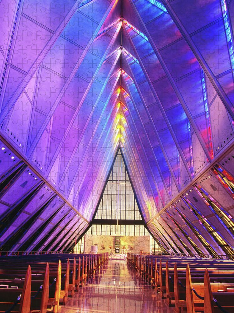 United States Air Force Academy Puzzle featuring the photograph Cadet Chapel Interior, Us Air Force by John Elk