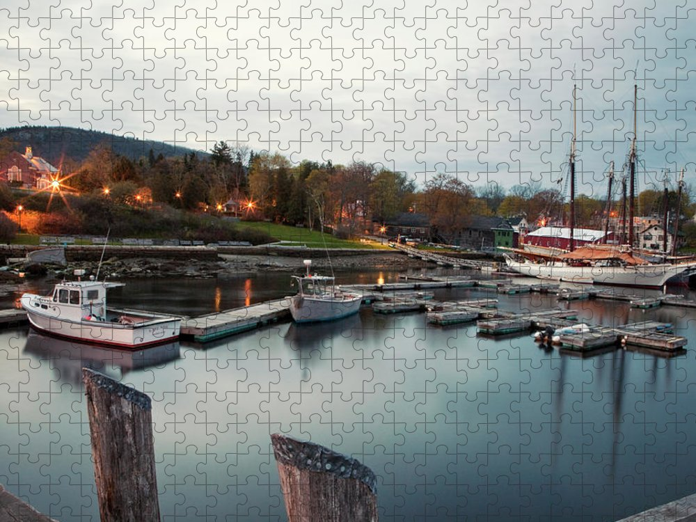 Camden Puzzle featuring the photograph Camden Harbor, Maine At Twighlight by Chris Bennett