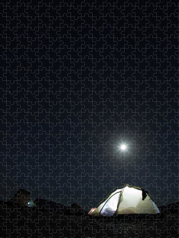 Camping Puzzle featuring the photograph Camping On The Beach Under The Moon And by Anna Henly