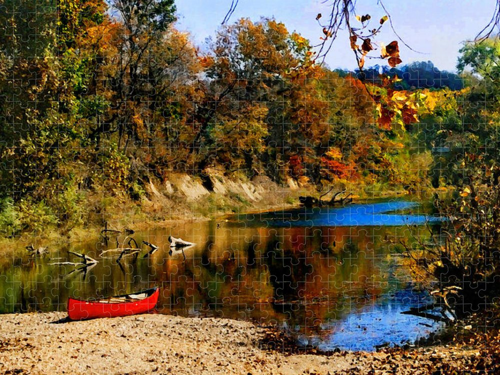 Autumn Puzzle featuring the photograph Canoe on the Gasconade River by Steve Karol
