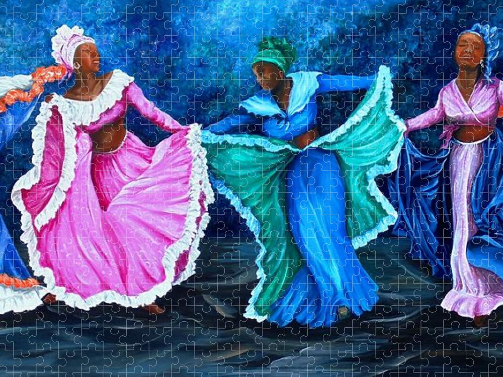 Caribbean Dance Puzzle featuring the painting Caribbean Folk Dancers by Karin Dawn Kelshall- Best