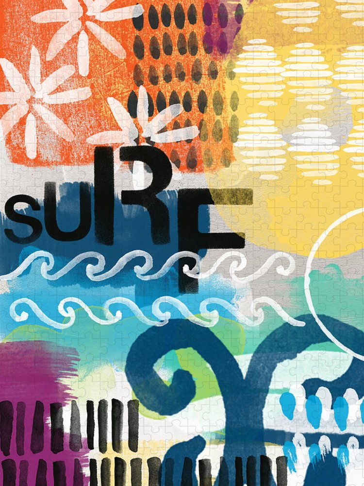 Surf Puzzle featuring the painting Carousel #7 SURF - contemporary abstract art by Linda Woods