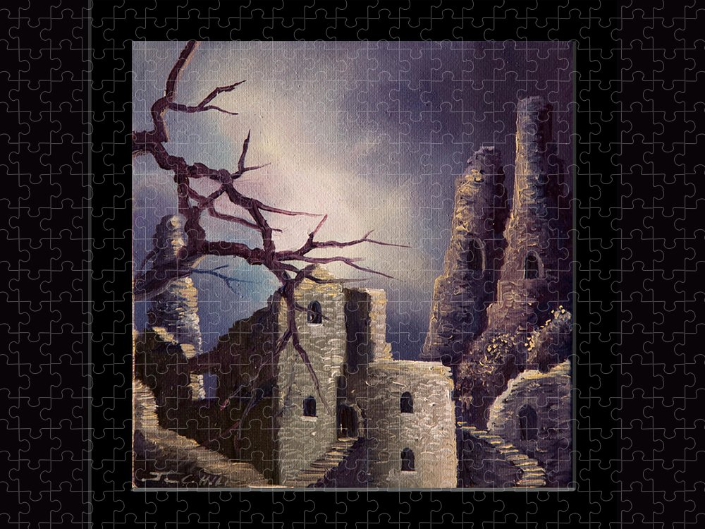 Gothic Puzzle featuring the painting Castle Ruins IV by James Christopher Hill