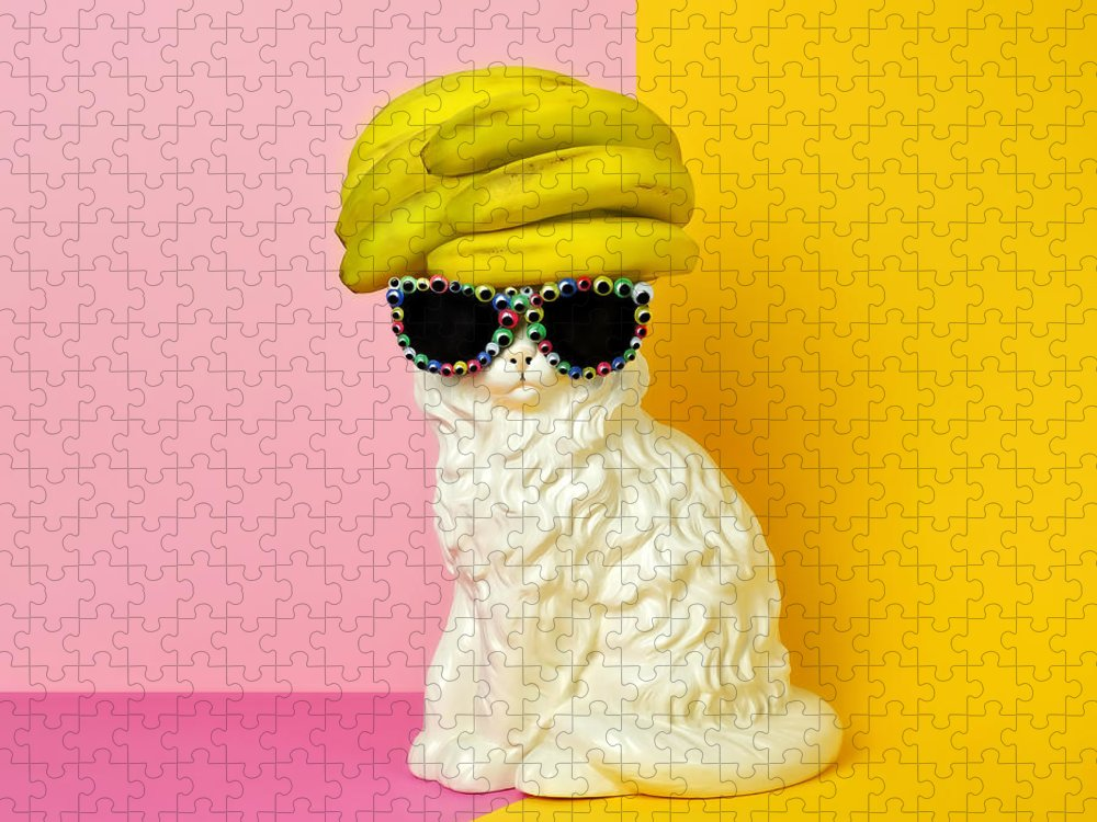 Statue Puzzle featuring the photograph Cat Wearing Sunglasses And Banana Wighat by Juj Winn