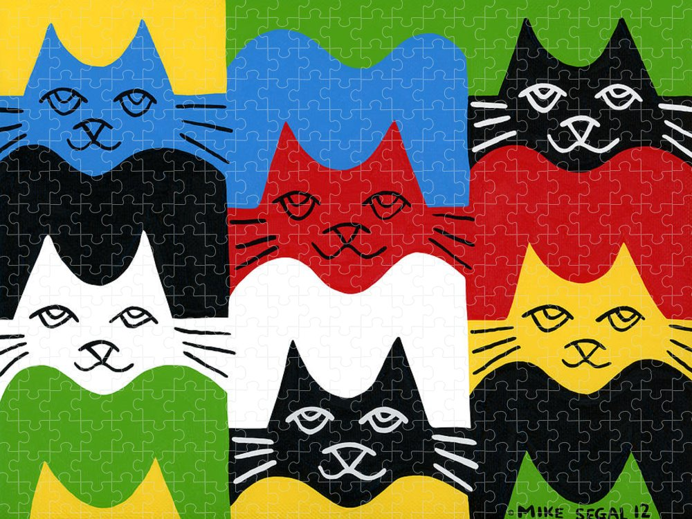 Cat Puzzle featuring the painting Cats by Mike Segal