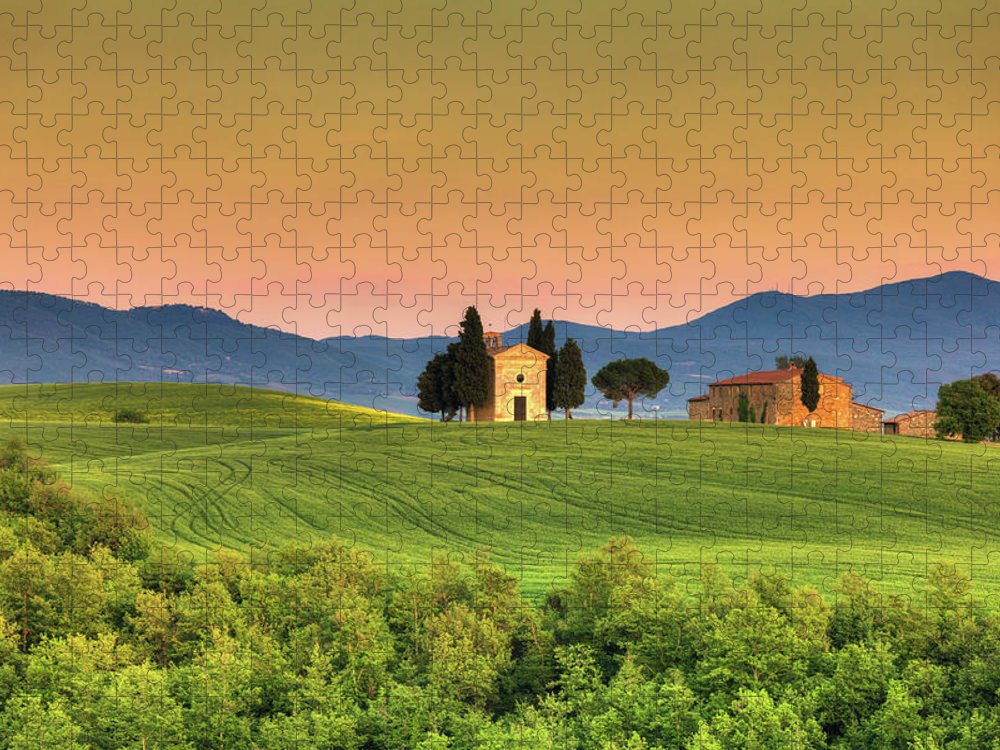 Roman Puzzle featuring the photograph Chapel Of Vitaleta In Tuscany, Val by Zodebala