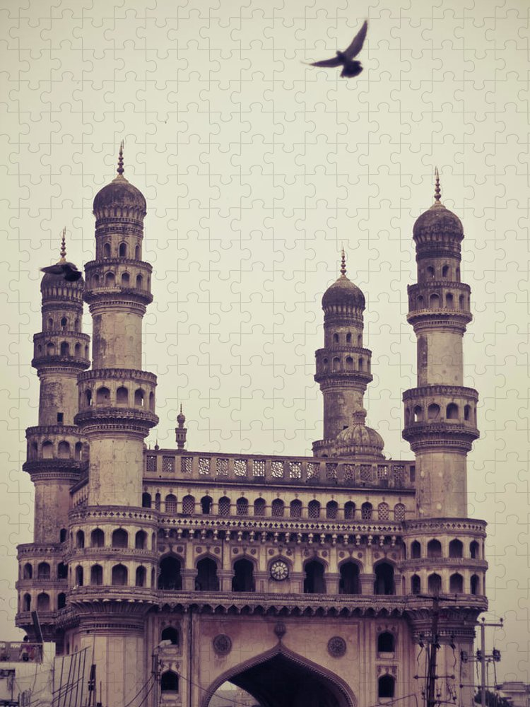 Tranquility Puzzle featuring the photograph Charminar And The Pigeon by © Manogna Reddy