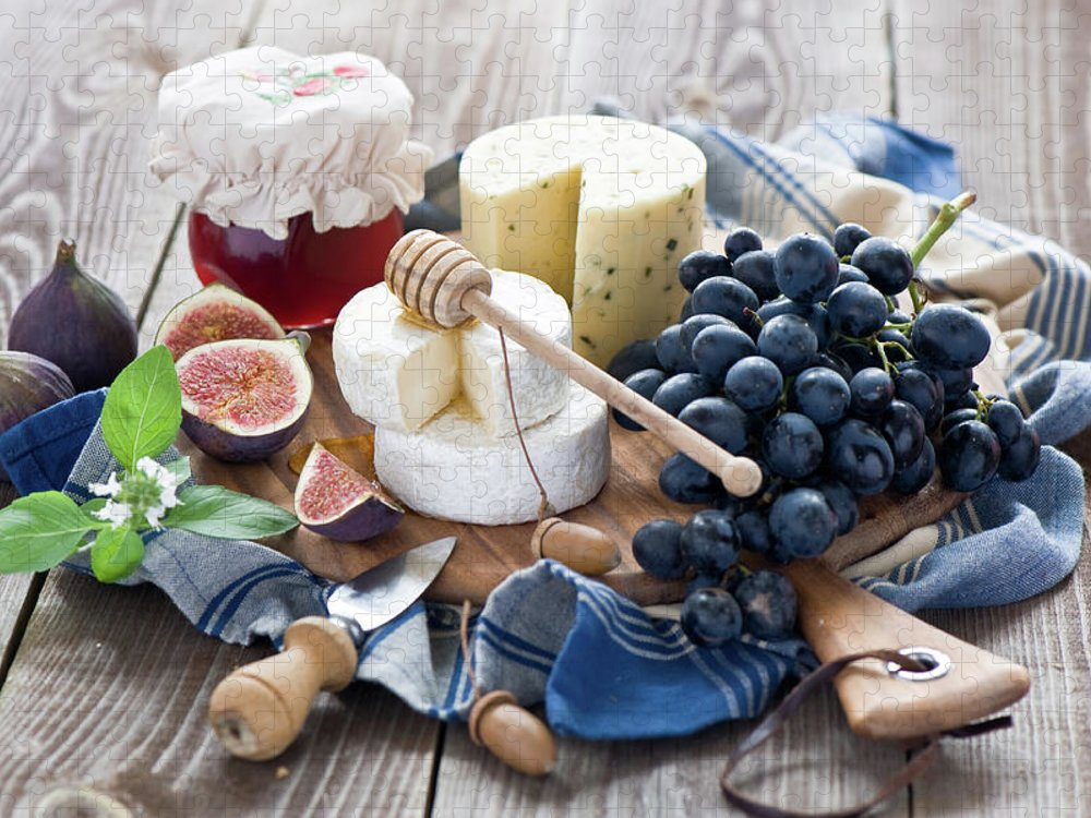 Plum Puzzle featuring the photograph Cheese Board by Verdina Anna