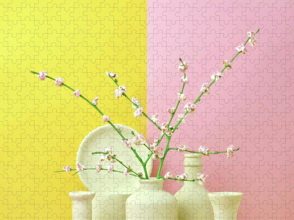 Out Of Context Puzzle featuring the photograph Cherry Blossom Popcorn In Monochromatic by Juj Winn