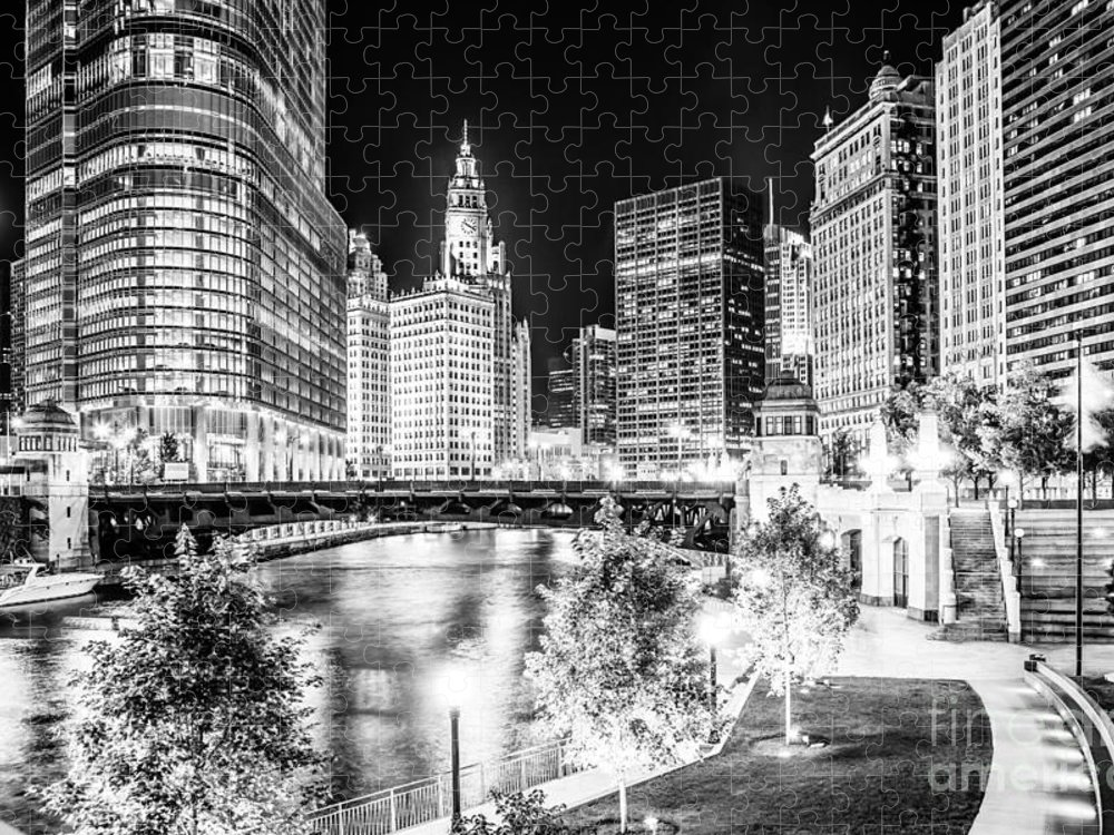 America Puzzle featuring the photograph Chicago River Buildings at Night in Black and White by Paul Velgos