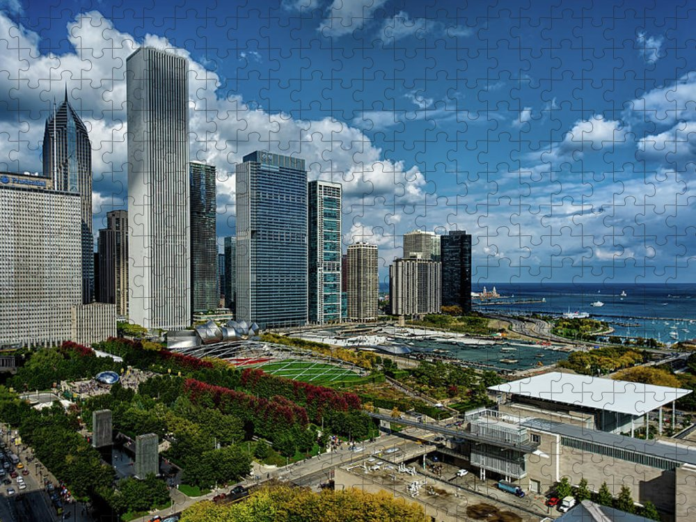 Tranquility Puzzle featuring the photograph Chicago Skyline by Milosh Kosanovich - Precision Digital Photography