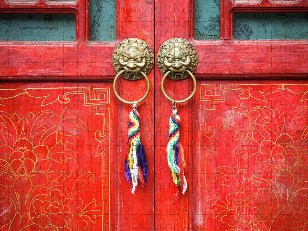Chinese Culture Puzzle featuring the photograph Chinese Traditional Door by Loveguli