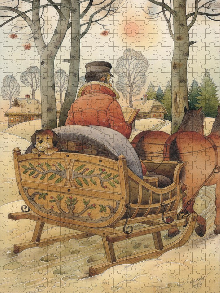 Christmas Gretting Card Winter Books Lanscape Snow White Holiday Puzzle featuring the painting Christmas Eve by Kestutis Kasparavicius