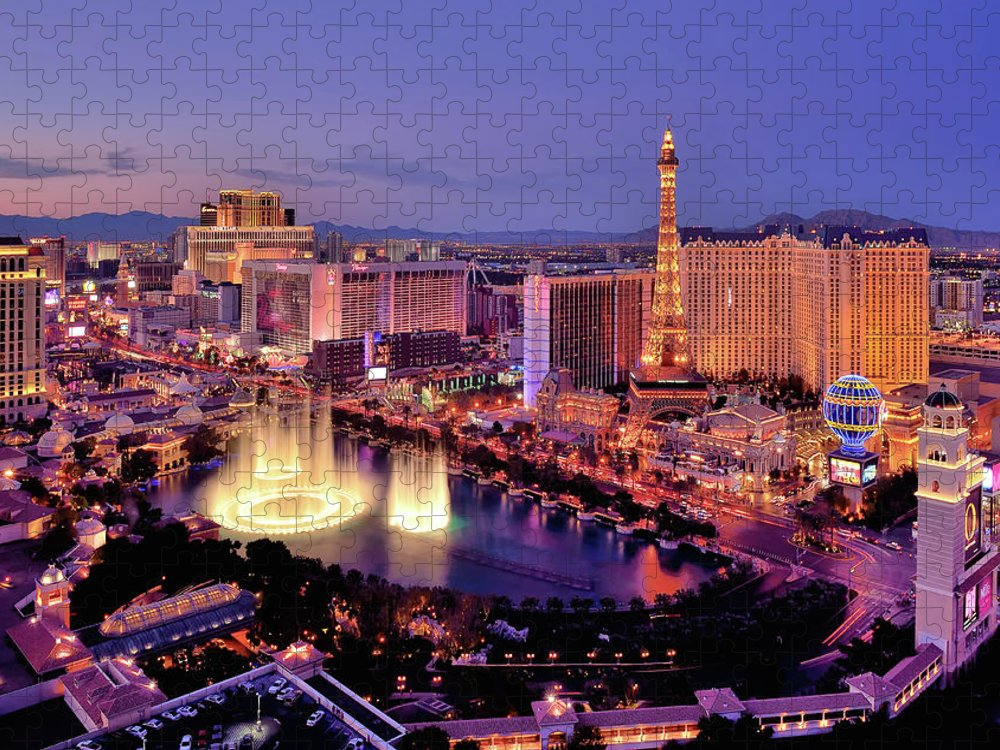 Built Structure Puzzle featuring the photograph City Skyline At Night With Bellagio by Rebeccaang