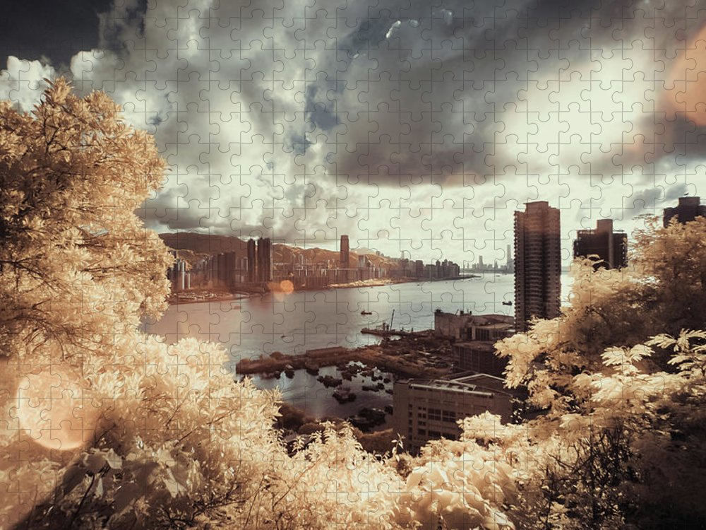 Treetop Puzzle featuring the photograph Cityscape In Dream by D3sign
