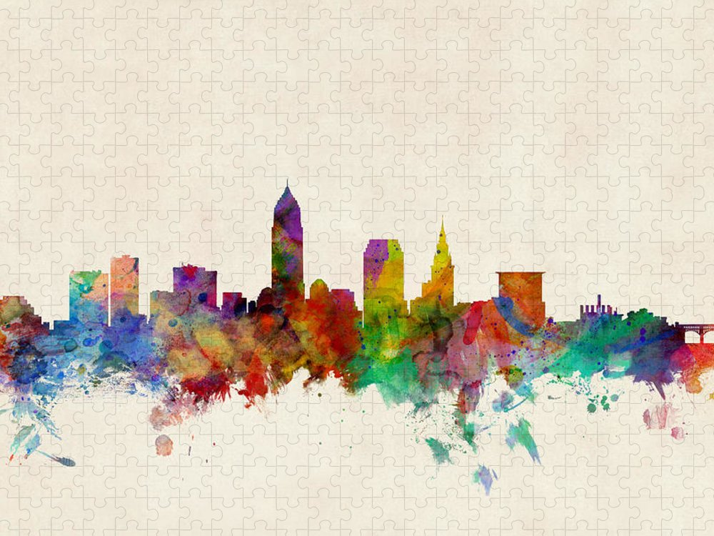 Watercolour Puzzle featuring the digital art Cleveland Ohio Skyline by Michael Tompsett