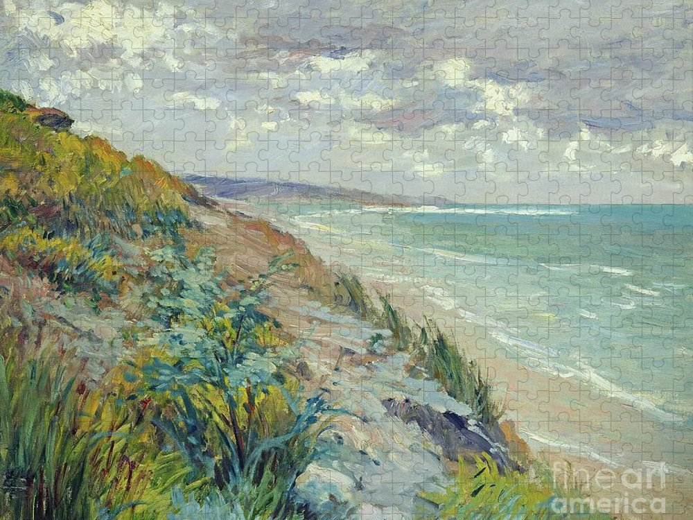 Beach Puzzle featuring the painting Cliffs by the sea at Trouville by Gustave Caillebotte