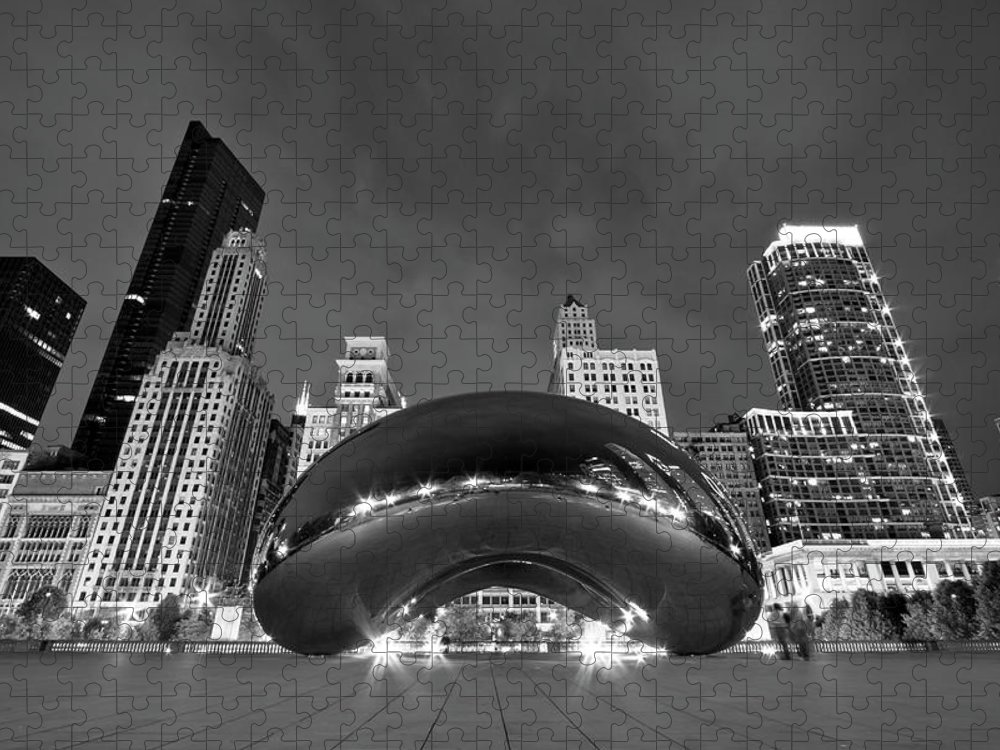 3scape Puzzle featuring the photograph Cloud Gate and Skyline by Adam Romanowicz