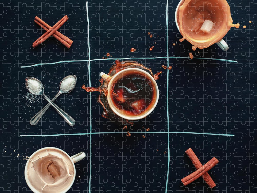 Milk Puzzle featuring the photograph Coffee Tic-tac-toe by Dina Belenko Photography
