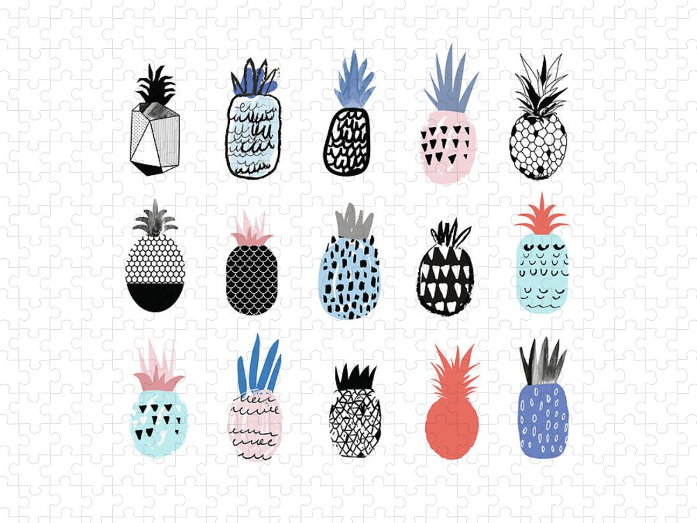 Art Puzzle featuring the digital art Collection Of Cute Pineapples With by Loliputa