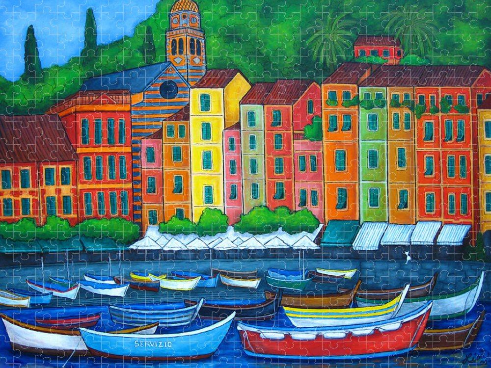 Portofino Puzzle featuring the painting Colours of Portofino, Italy by Lisa Lorenz