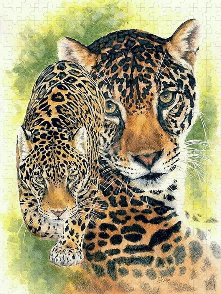 Jaguar Puzzle featuring the mixed media Compelling by Barbara Keith