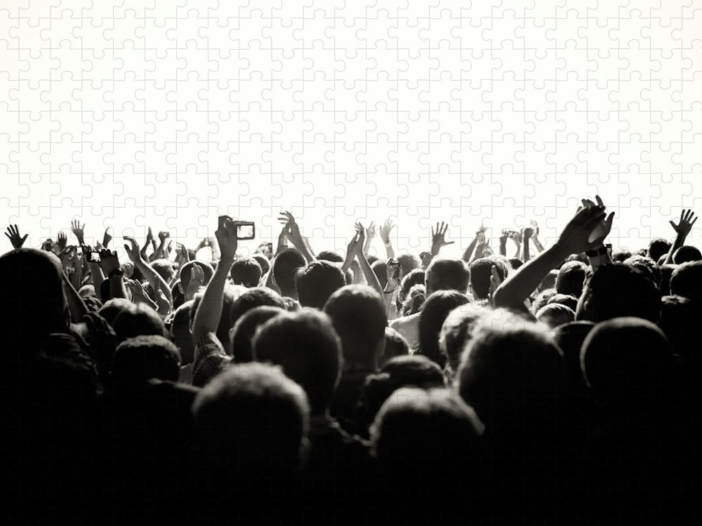 Rock Music Puzzle featuring the photograph Concert Crowd by Alenpopov