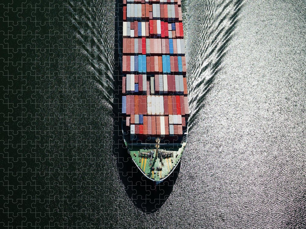 Freight Transportation Puzzle featuring the photograph Container Ship Bow by Dan prat