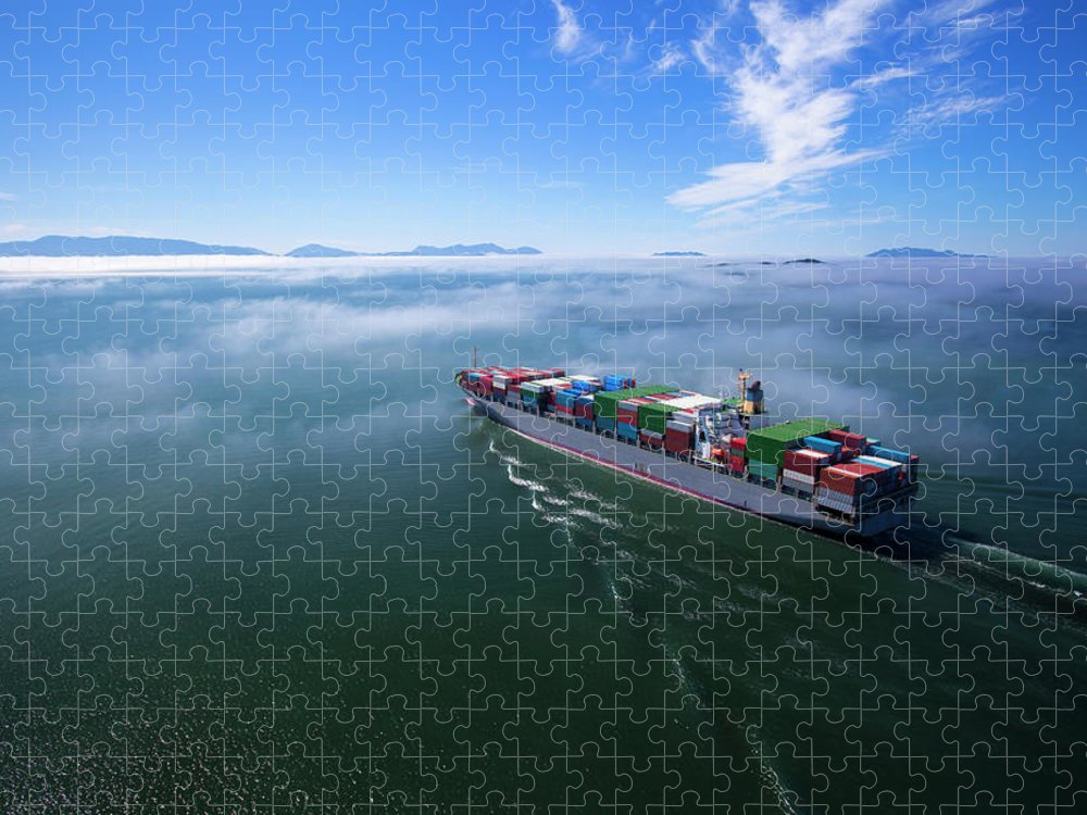 Freight Transportation Puzzle featuring the photograph Container Ship by Dan prat