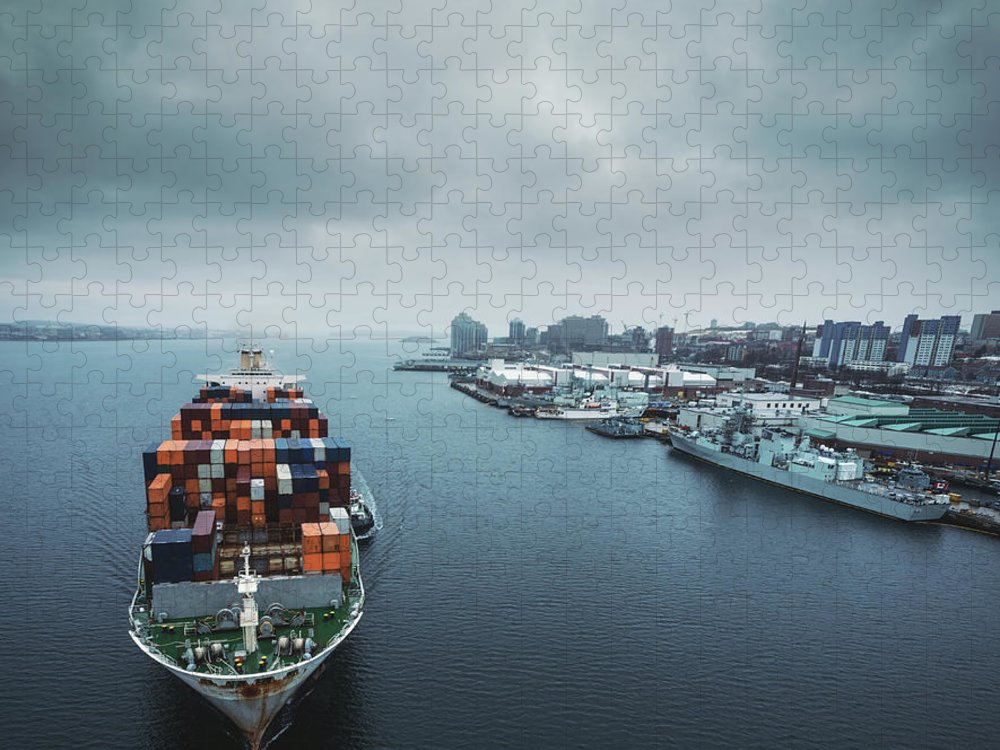 Freight Transportation Puzzle featuring the photograph Container Ship In Halifax Harbour by Shaunl