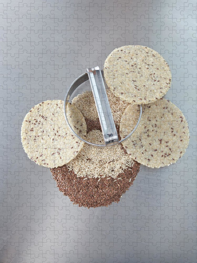 Flax Seed Puzzle featuring the photograph Cookie Cutter With Dough Rounds by Laurie Castelli