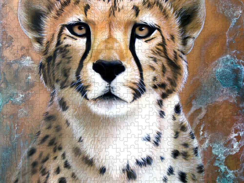 Copper Puzzle featuring the painting Copper Flash - Cheetah by Sandi Baker