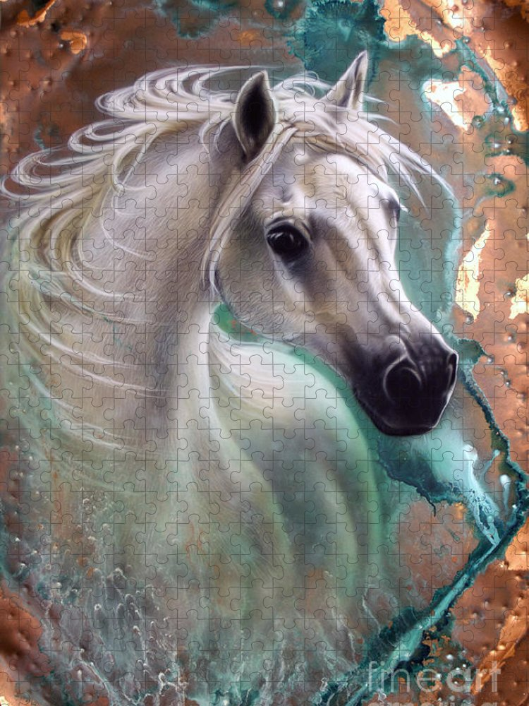 Copper Puzzle featuring the painting Copper Grace - Horse by Sandi Baker