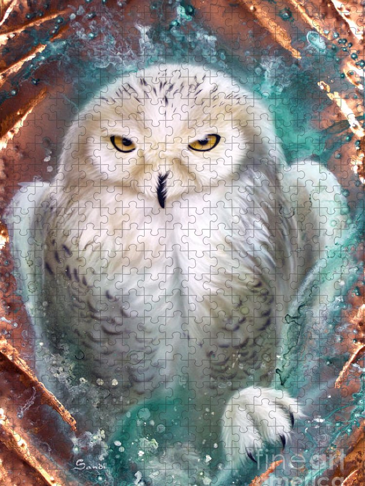 Copper Puzzle featuring the painting Copper Snowy Owl by Sandi Baker
