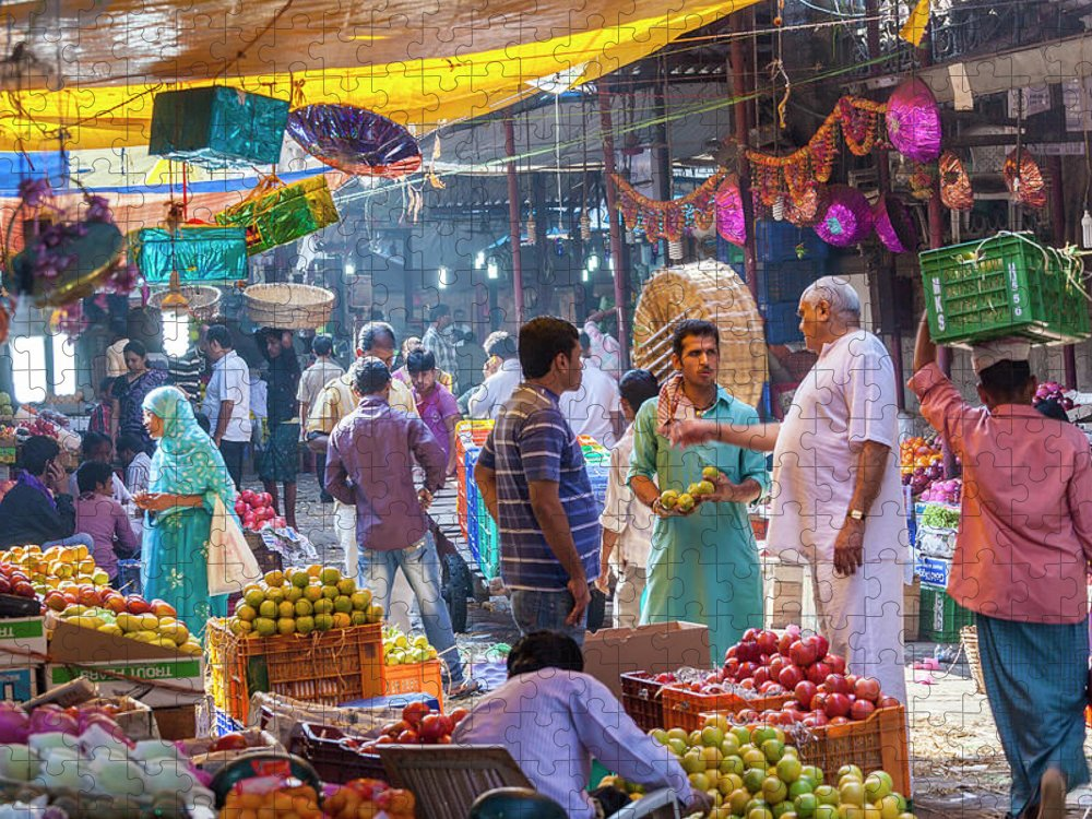 Trading Puzzle featuring the photograph Crawford Market, Mumbai, India by Peter Adams