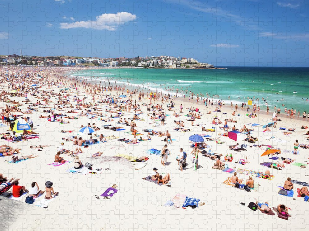 Water's Edge Puzzle featuring the photograph Crowded Bondi Beach, Sydney, Australia by Matteo Colombo