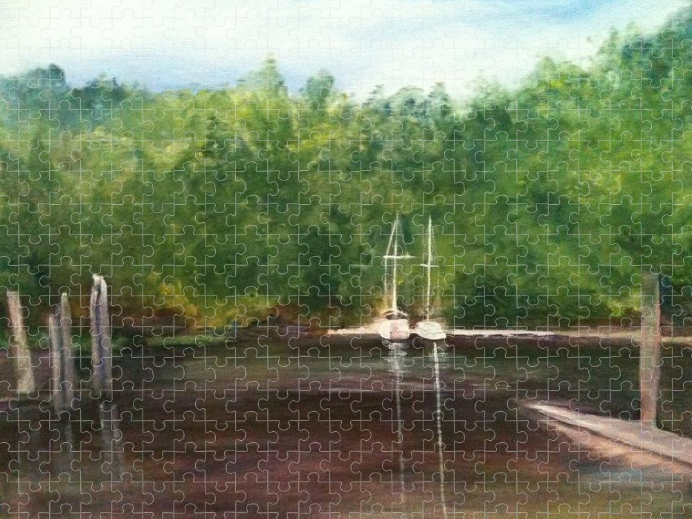 Plein Aire Puzzle featuring the painting Curtain's Marina by Sheila Mashaw