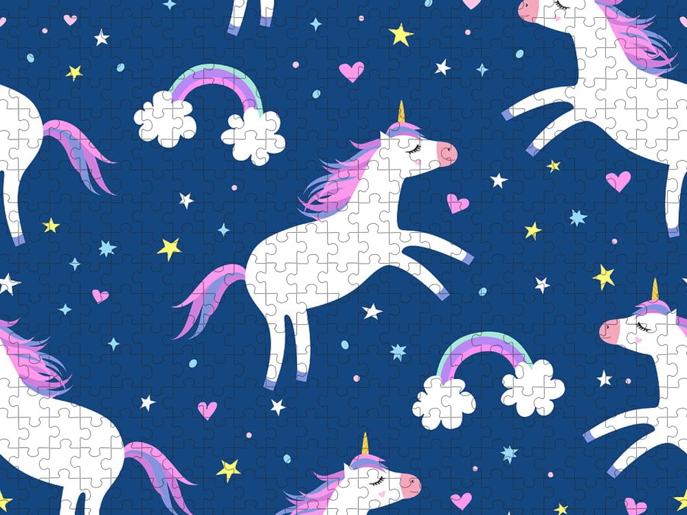 Horse Puzzle featuring the digital art Cute Cartoon Colorful Seamless Pattern by Ekaterina Bedoeva