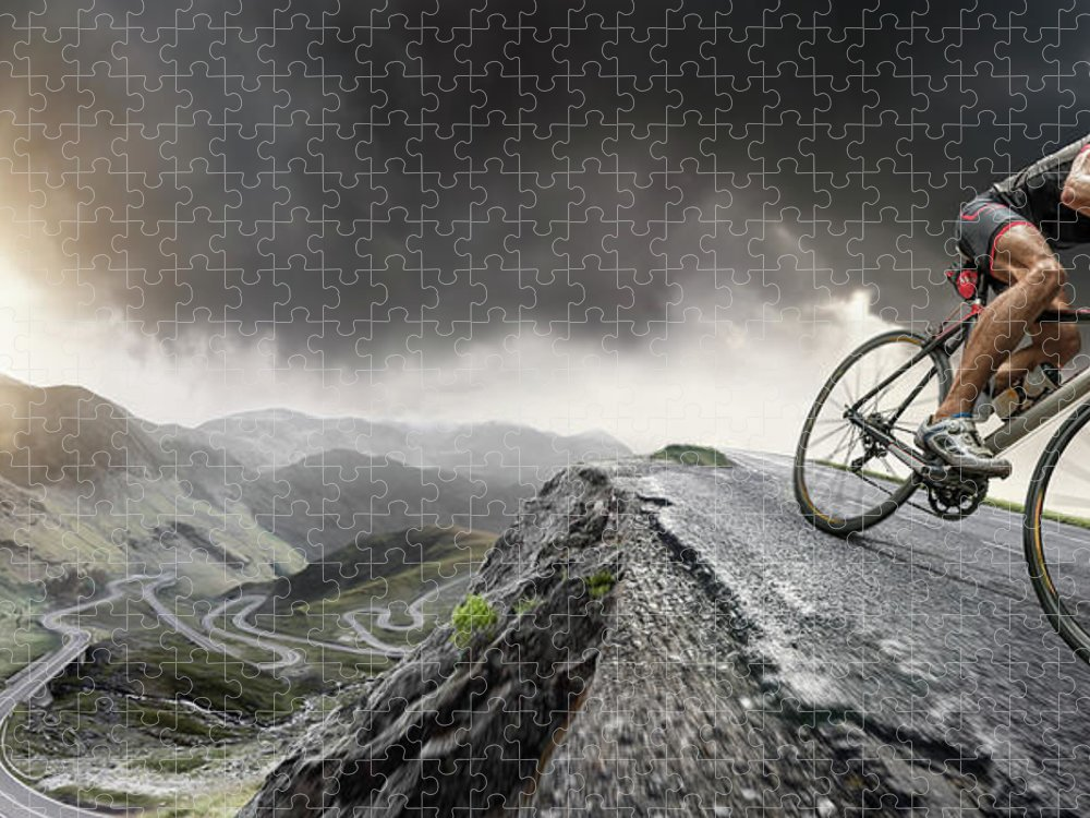 Sports Helmet Puzzle featuring the photograph Cyclist Climbs To The Top by Peepo