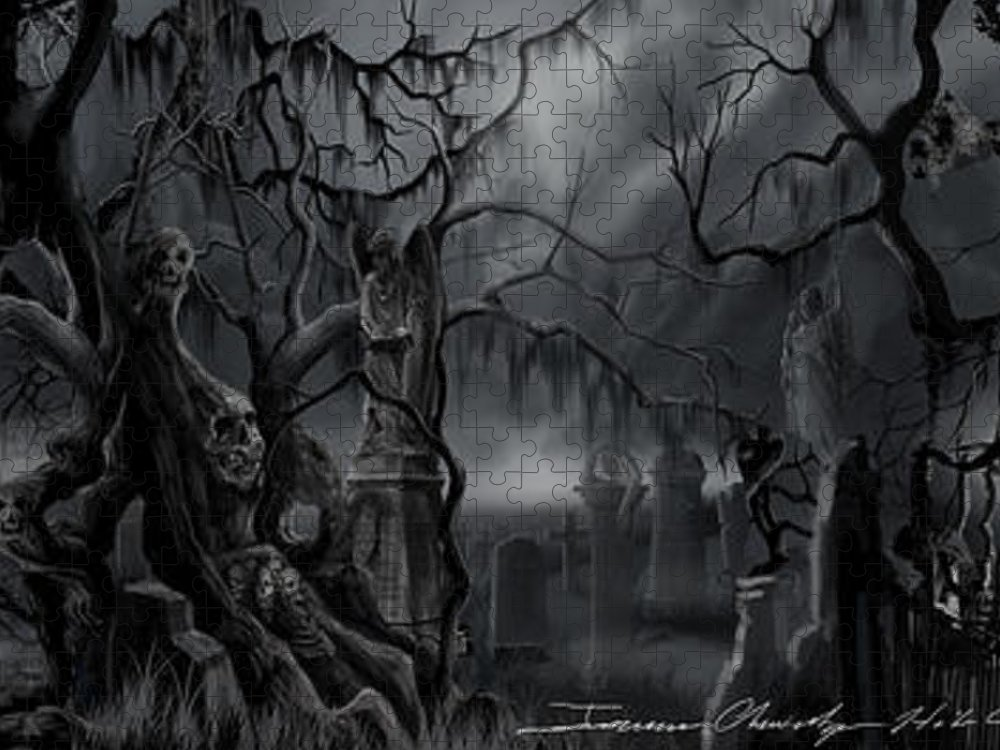 James Christopher Hill Puzzle featuring the painting Darkness Has Crept in the Midnight Hour by James Christopher Hill