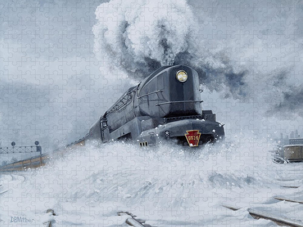 Trains Puzzle featuring the painting Dashing Through the Snow by David Mittner