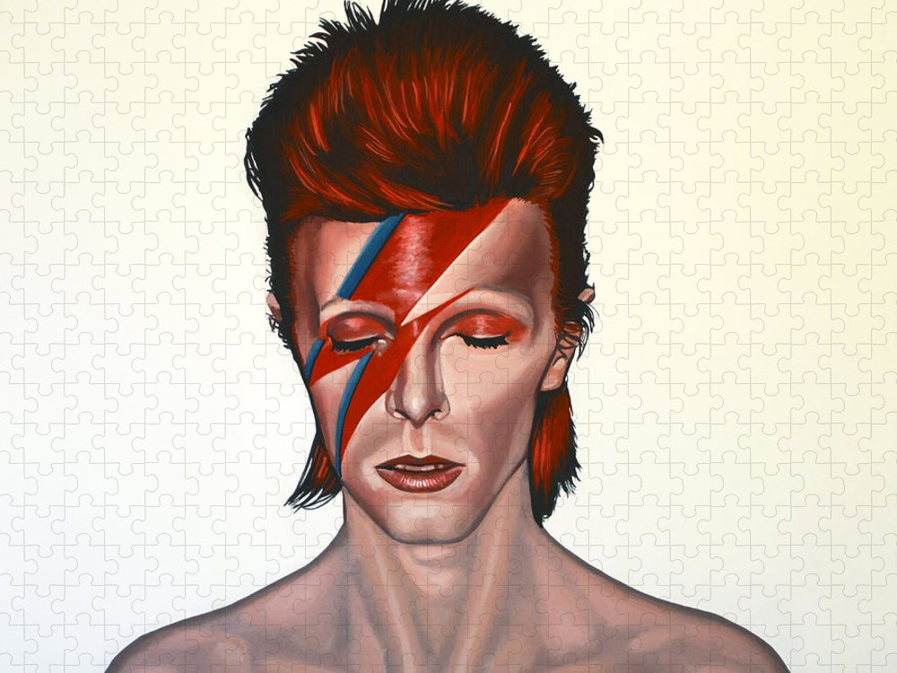 David Bowie Puzzle featuring the painting David Bowie Aladdin Sane by Paul Meijering